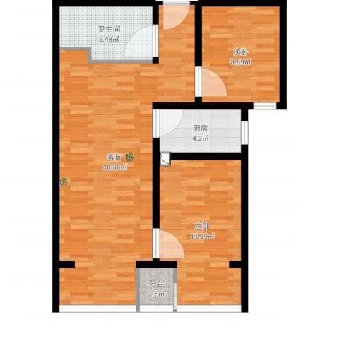 住总众邦·长安生活港2室1厅1卫1厨80.00㎡户型图