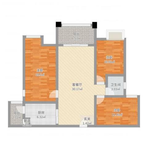 南天・星月国际广场3室2厅1卫1厨111.00㎡户型图