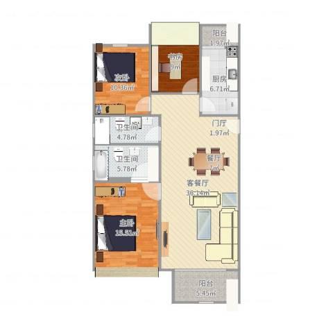 龙跃苑东四区3室2厅2卫1厨120.00㎡户型图