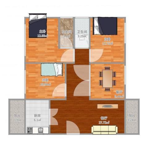 东明花园四期5栋6023室2厅2卫1厨125.00㎡户型图