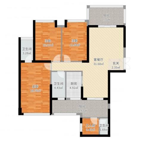 嘉宏世纪豪庭3室2厅3卫1厨157.00㎡户型图