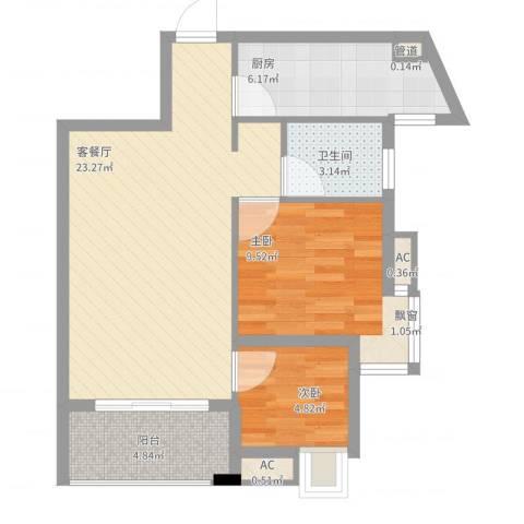 九仰梧桐公寓2室2厅1卫1厨76.00㎡户型图