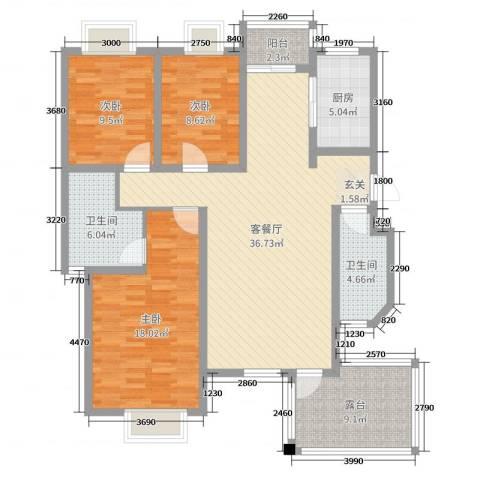 尚品林溪3室2厅2卫1厨124.00㎡户型图