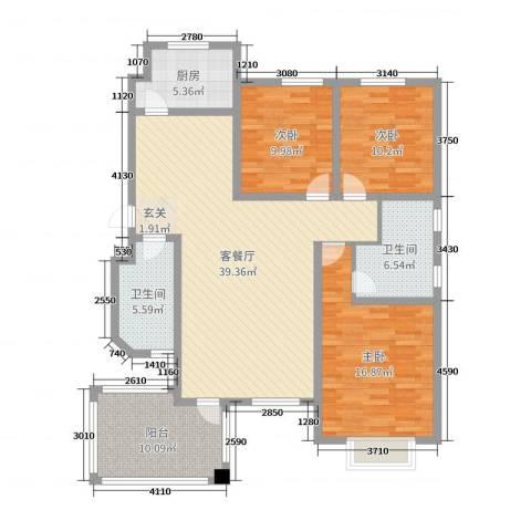 尚品林溪3室2厅2卫1厨130.00㎡户型图