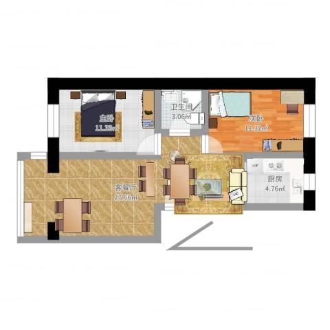 祥云小区2室2厅1卫1厨73.00㎡户型图