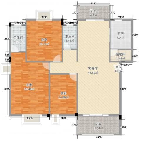 丽景华庭3室2厅2卫1厨141.00㎡户型图