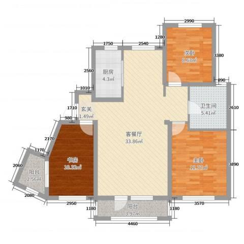 鸿玮澜山二期 和院3室2厅1卫1厨109.00㎡户型图