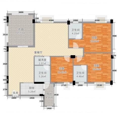 丽景华庭3室2厅3卫1厨153.00㎡户型图
