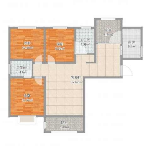 龙翔香格里拉三室两厅126平方米3室2厅2卫1厨112.00㎡户型图