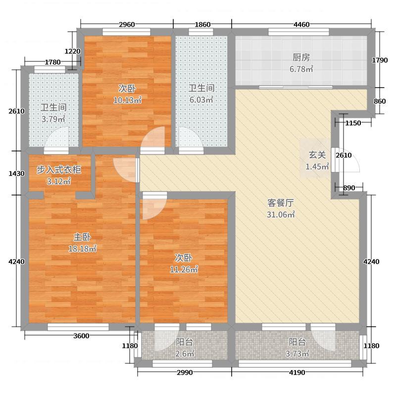 鸿玮澜山二期和院120.00㎡6、7号楼H1户型3室3厅2卫1厨