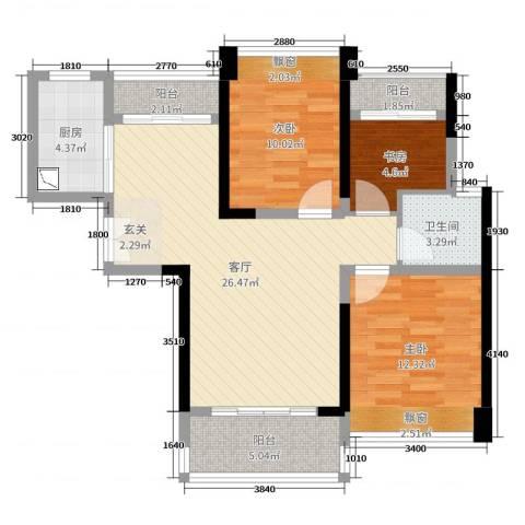 深业泰然观澜玫瑰轩3室1厅1卫1厨89.00㎡户型图