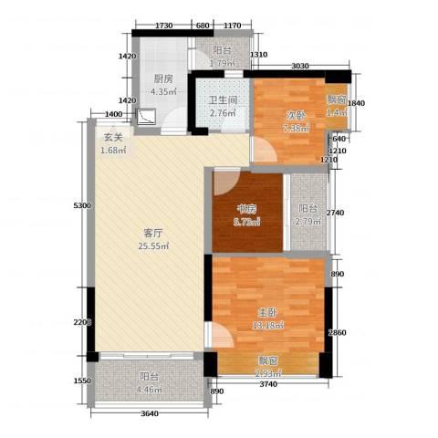 深业泰然观澜玫瑰轩3室1厅1卫1厨86.00㎡户型图