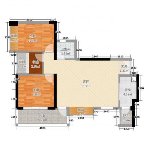 深业泰然观澜玫瑰轩3室1厅1卫1厨88.00㎡户型图