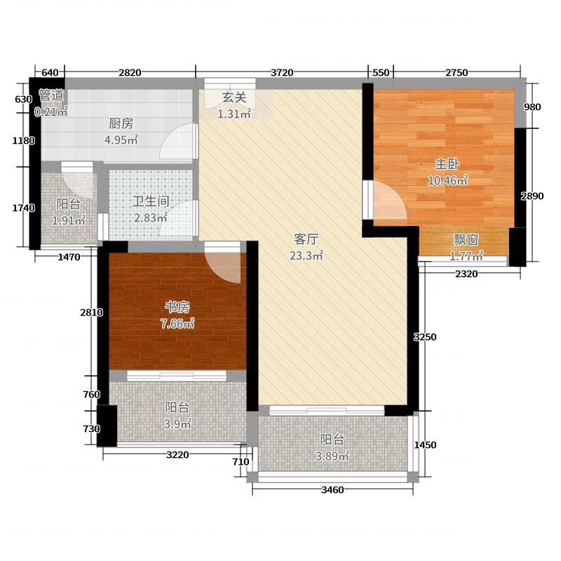 深业泰然观澜玫瑰轩73.00㎡A座2单元08户型2室2厅1卫1厨