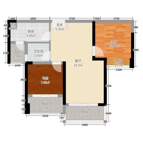 深业泰然观澜玫瑰轩2室1厅1卫1厨73.00㎡户型图