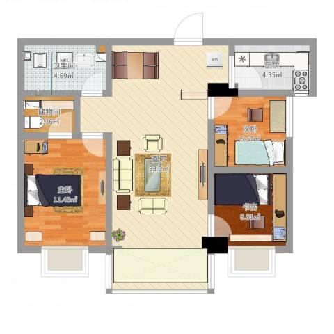 水景花城3室1厅1卫1厨87.00㎡户型图