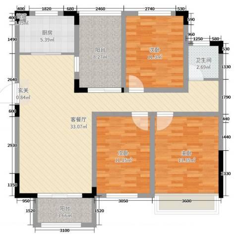 首创悦府3室2厅1卫1厨111.00㎡户型图