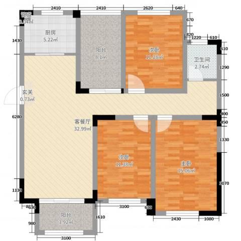 首创悦府3室2厅1卫1厨113.00㎡户型图