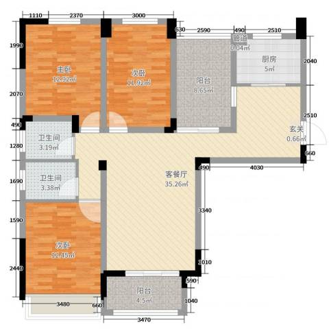 首创悦府3室2厅2卫1厨121.00㎡户型图
