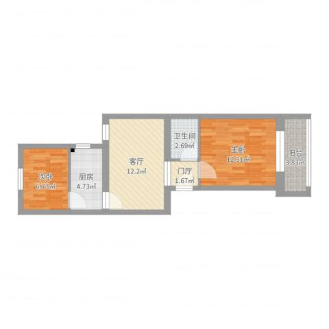 滨河西里2室1厅1卫1厨55.00㎡户型图