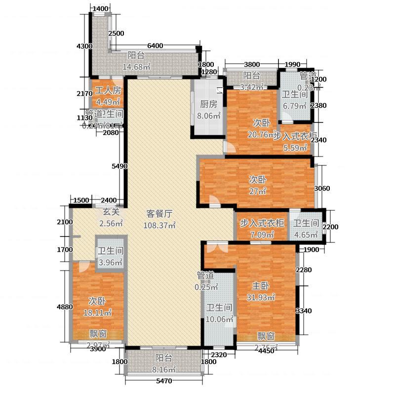 雅居乐・御宾府339.00㎡F户型4室4厅5卫1厨