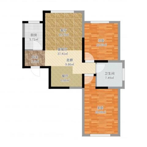 信泰龙跃国际2室2厅1卫1厨107.00㎡户型图