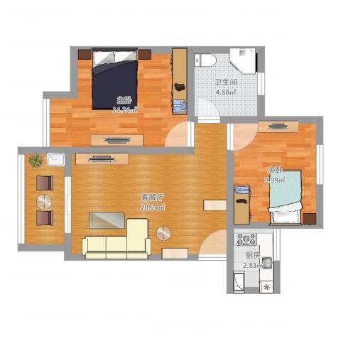银康苑(两室一厅1)2室2厅1卫1厨71.00㎡户型图