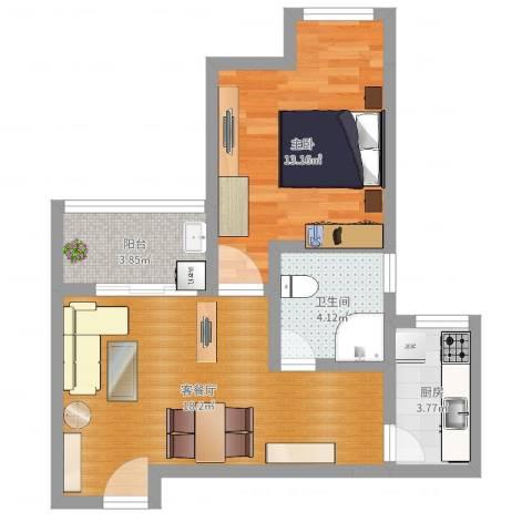 银康苑(一室一厅1)1室2厅1卫1厨54.00㎡户型图