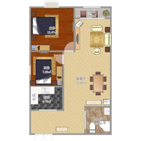 国光山水间2室2厅1卫1厨81.00㎡户型图