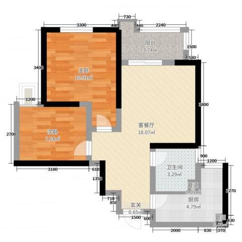 铭城国际社区2室2厅1卫1厨71.00㎡户型图