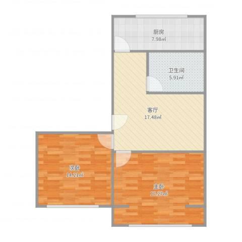 玉桥南里2室1厅1卫1厨79.00㎡户型图