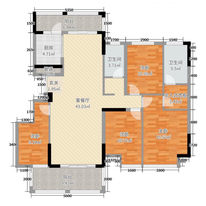 南宁万达茂140.00㎡A14/15#1-2户型4室4厅2卫1厨