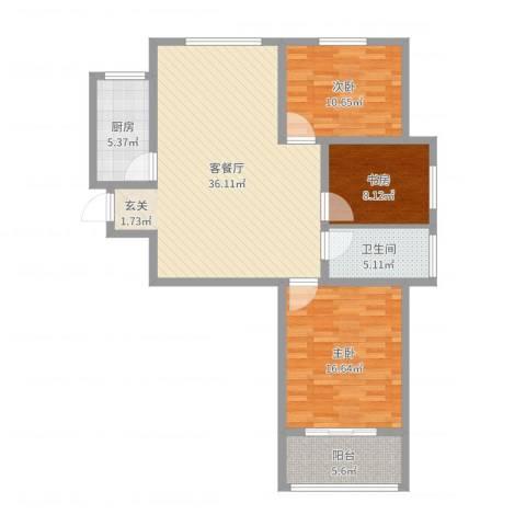 环宇国际广场3室2厅1卫1厨110.00㎡户型图