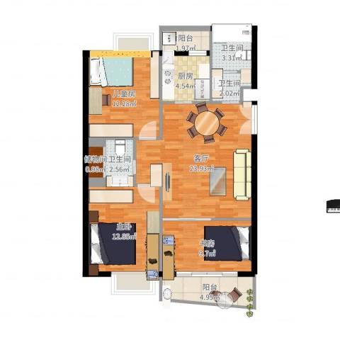 虹桥城市花园3室1厅3卫1厨99.00㎡户型图