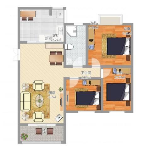 东方文华苑3室1厅1卫1厨95.00㎡户型图