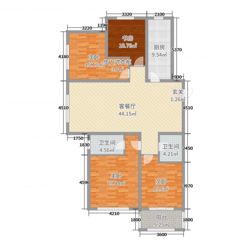公园伍号179.30㎡4#楼D户型4室4厅2卫1厨