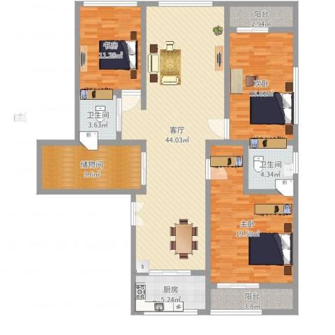 草场门大街123号3室1厅2卫1厨149.00㎡户型图
