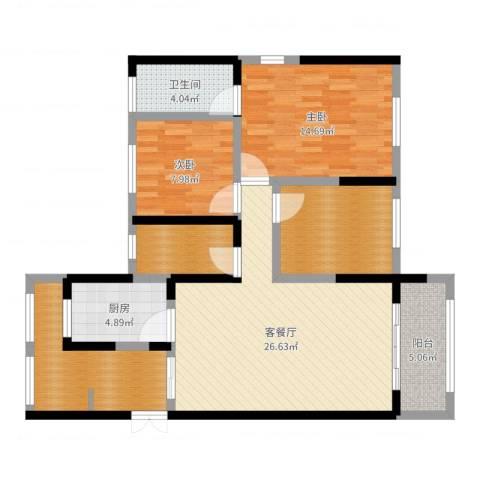 振业泊墅2室2厅1卫1厨106.00㎡户型图