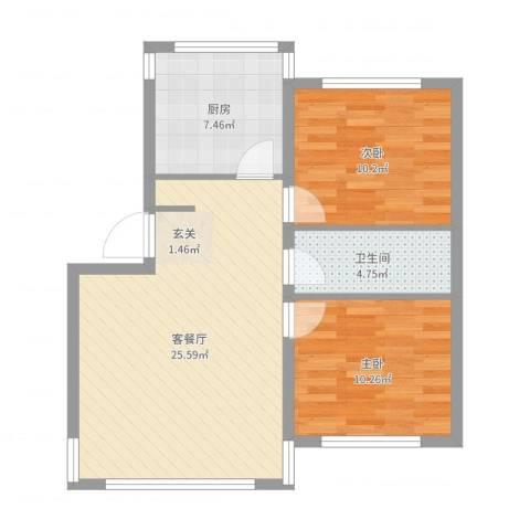 复兴南里2室2厅1卫1厨58.24㎡户型图