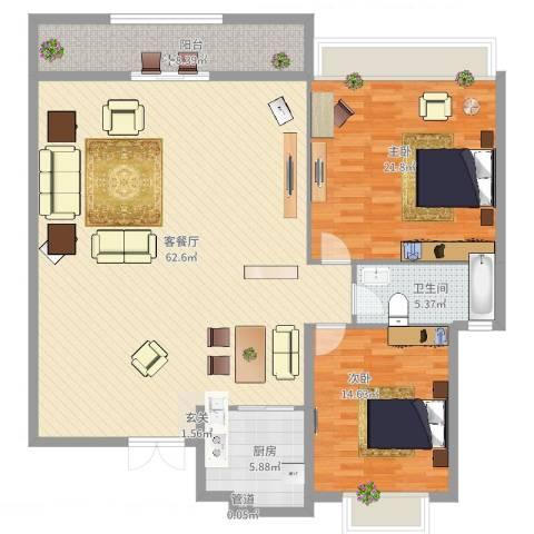 万科城市风景2室2厅1卫1厨162.00㎡户型图