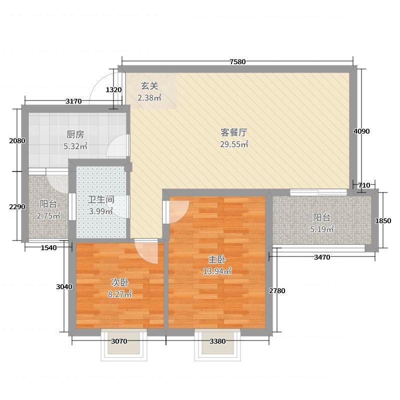 云台山第86.21㎡户型2室2厅1卫1厨