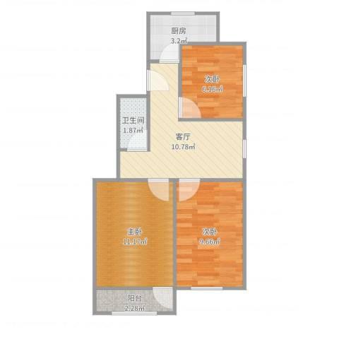 葛布店东里3室1厅1卫1厨56.00㎡户型图