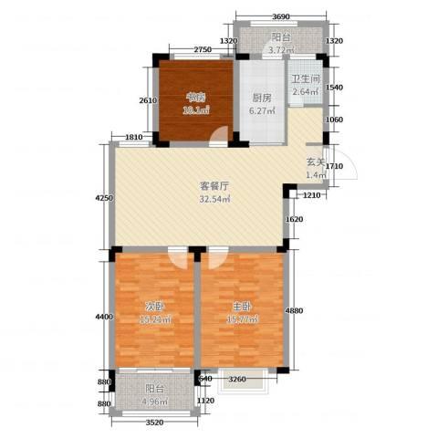 格林春天・野花园二期3室2厅1卫1厨114.00㎡户型图