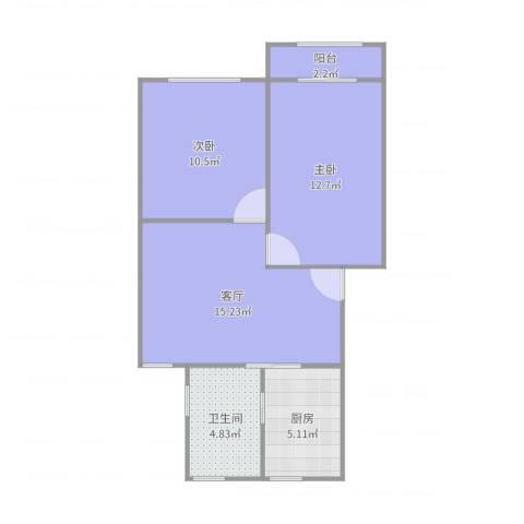 龙柏五村2室1厅1卫1厨63.00㎡户型图