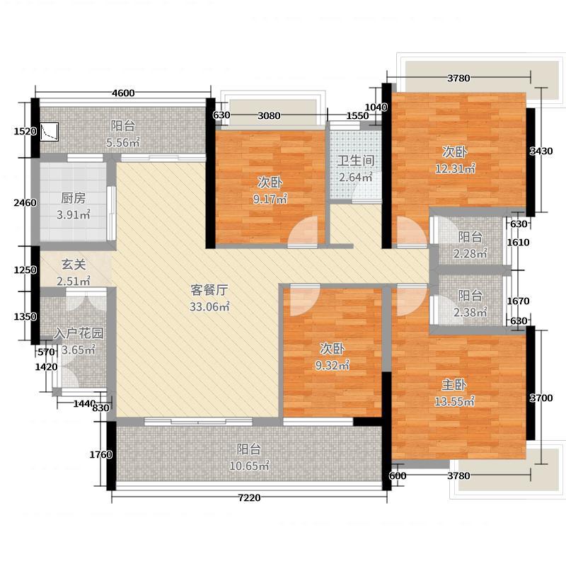 正德天水湖143.12㎡21栋01/22栋02户型4室4厅3卫1厨