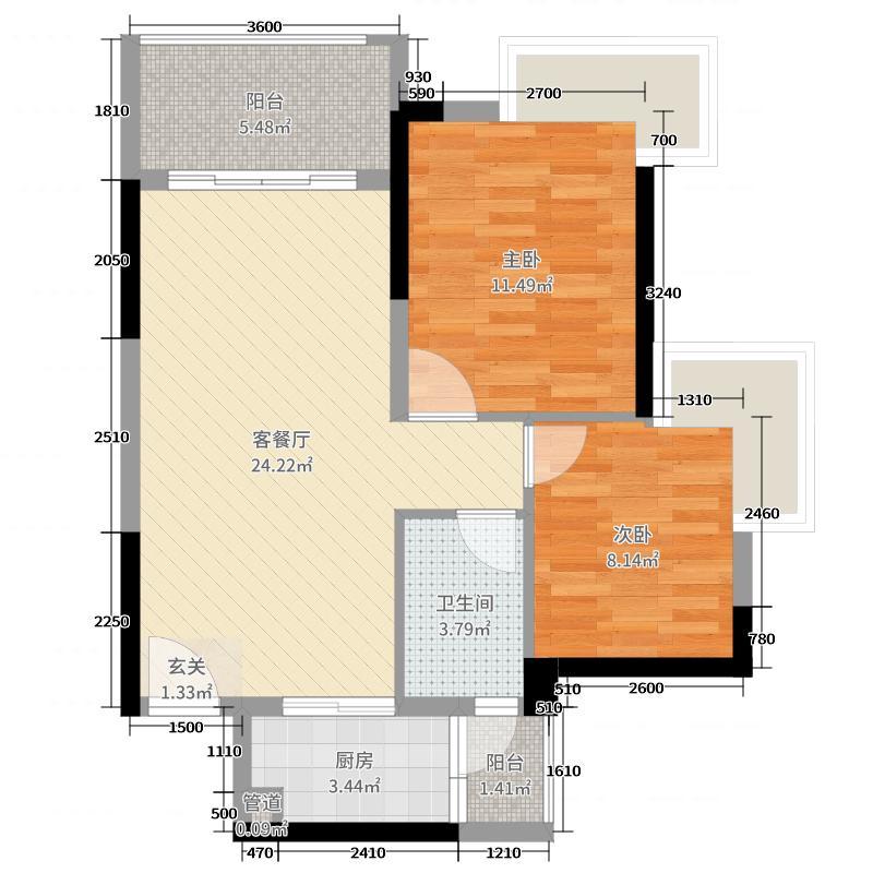 中惠松湖城76.00㎡4栋01、02单元户型2室2厅1卫1厨