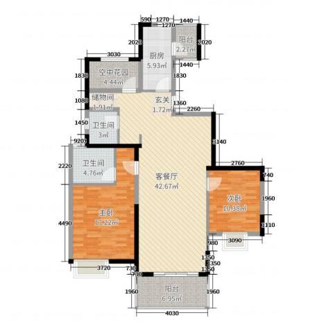四季金辉2室2厅2卫1厨122.00㎡户型图