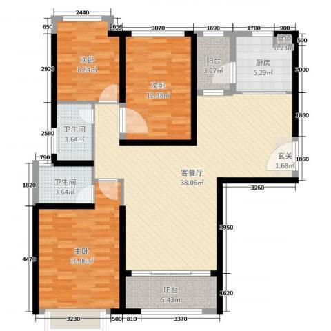 海伦春天3室2厅2卫1厨121.00㎡户型图