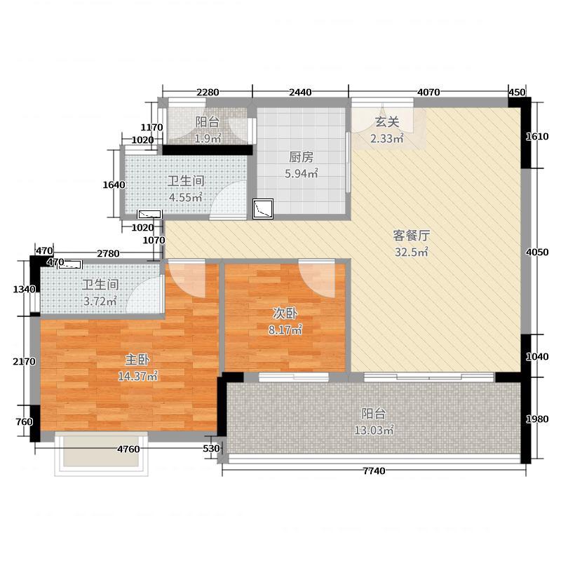 富力南昆山温泉养生谷106.00㎡户型3室3厅2卫1厨