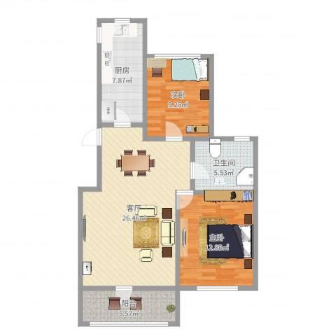 康桥新苑2室1厅1卫1厨84.00㎡户型图